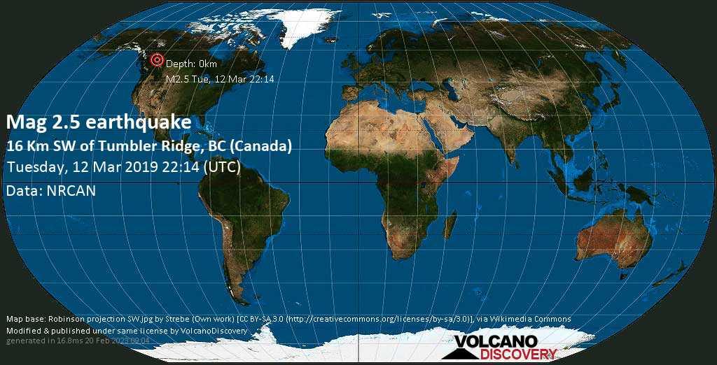 Minor mag. 2.5 earthquake  - 16 km SW of Tumbler Ridge, BC (Canada) on Tuesday, 12 March 2019