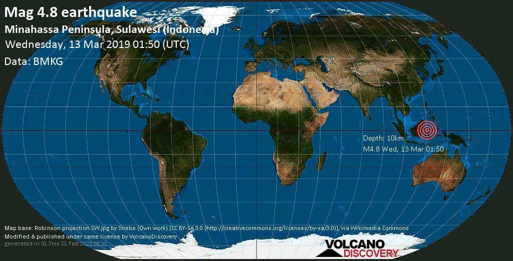 Light mag. 4.8 earthquake  - Minahassa Peninsula, Sulawesi (Indonesia) on Wednesday, 13 March 2019