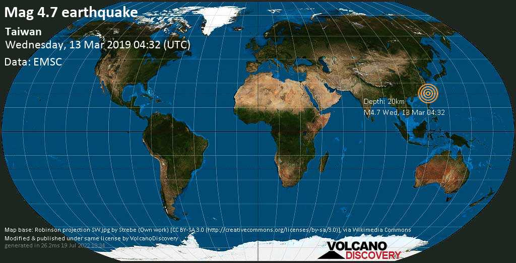 Light mag. 4.7 earthquake  - Taiwan on Wednesday, 13 March 2019
