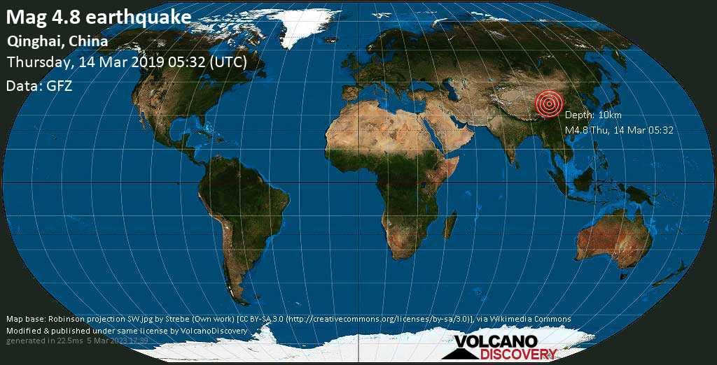 Light mag. 4.8 earthquake  - Qinghai, China on Thursday, 14 March 2019