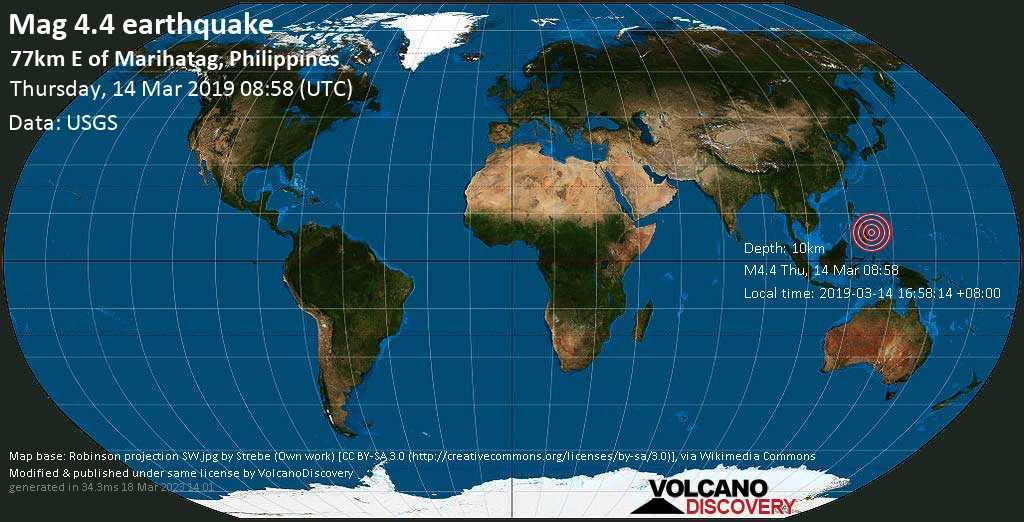 Light mag. 4.4 earthquake  - 77km E of Marihatag, Philippines on Thursday, 14 March 2019