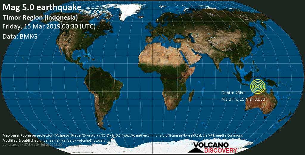 Moderate mag. 5.0 earthquake  - Timor Region (Indonesia) on Friday, 15 March 2019