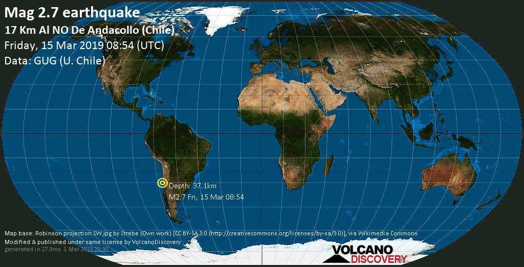 Minor mag. 2.7 earthquake  - 17 km al NO de Andacollo (Chile) on Friday, 15 March 2019