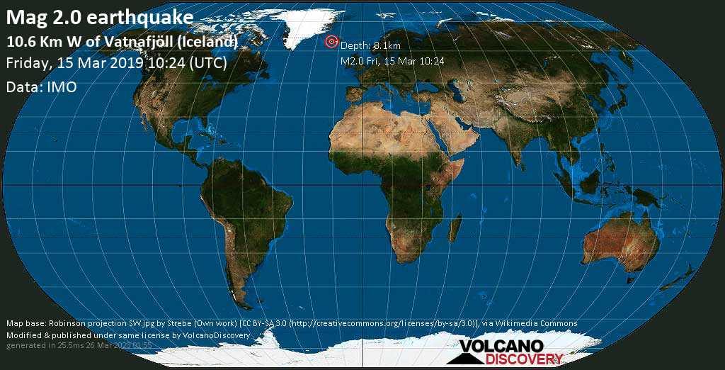 Minor mag. 2.0 earthquake  - 10.6 km W of Vatnafjöll (Iceland) on Friday, 15 March 2019