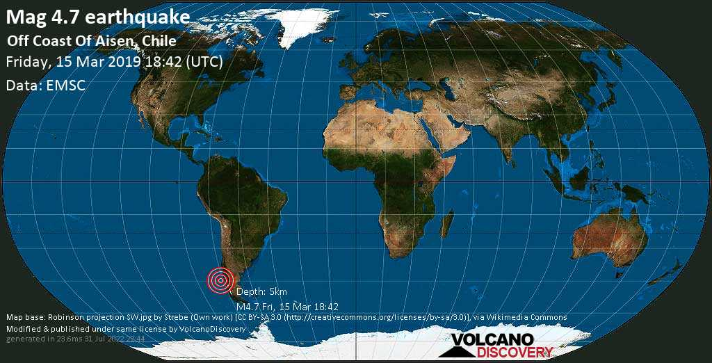 Light mag. 4.7 earthquake  - Off Coast Of Aisen, Chile on Friday, 15 March 2019