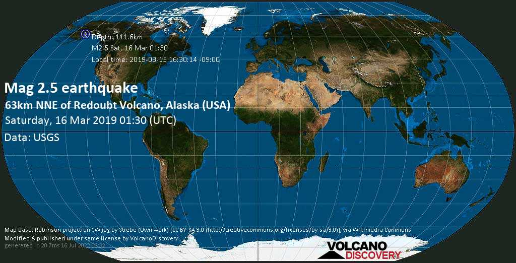 Minor mag. 2.5 earthquake  - 63km NNE of Redoubt Volcano, Alaska (USA) on Saturday, 16 March 2019