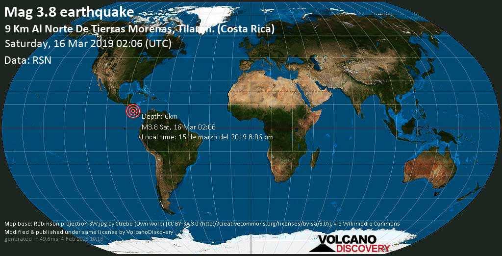 Minor mag. 3.8 earthquake  - 9 km al Norte de Tierras Morenas, Tilaran. (Costa Rica) on Saturday, 16 March 2019