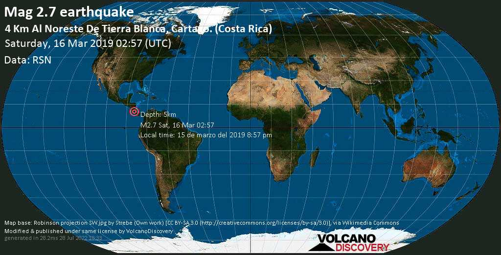 Minor mag. 2.7 earthquake  - 4 km al Noreste de Tierra Blanca, Cartago. (Costa Rica) on Saturday, 16 March 2019