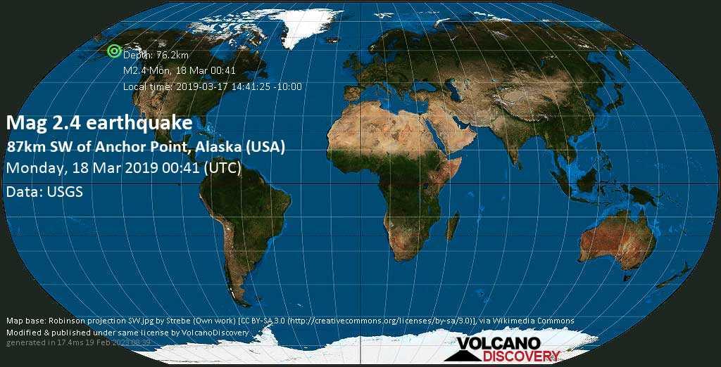 Minor mag. 2.4 earthquake  - 87km SW of Anchor Point, Alaska (USA) on Monday, 18 March 2019