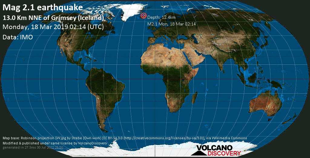 Minor mag. 2.1 earthquake  - 13.0 km NNE of Grímsey (Iceland) on Monday, 18 March 2019