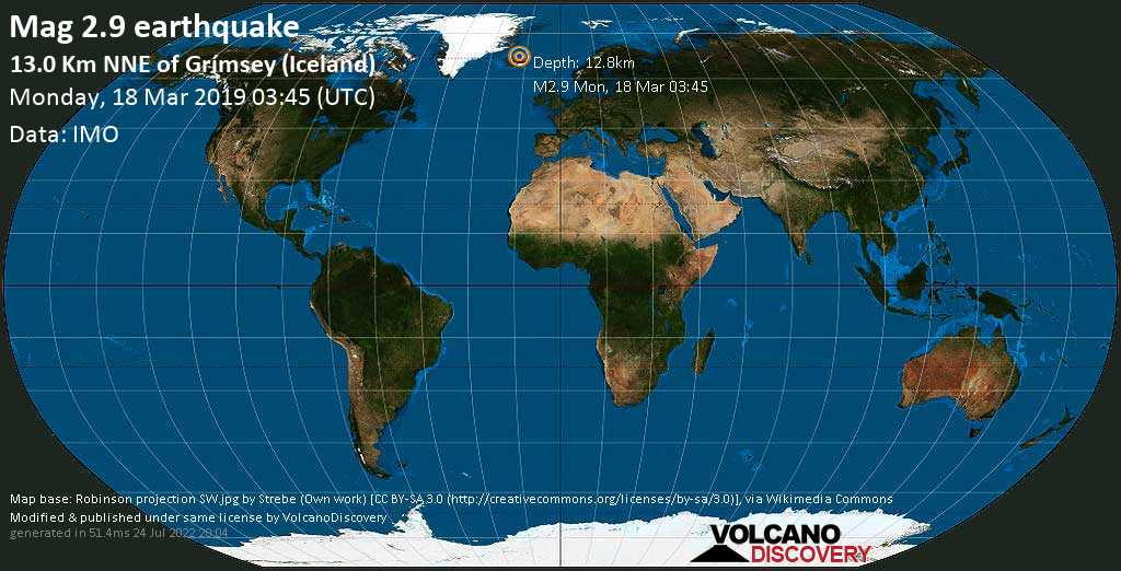 Minor mag. 2.9 earthquake  - 13.0 km NNE of Grímsey (Iceland) on Monday, 18 March 2019