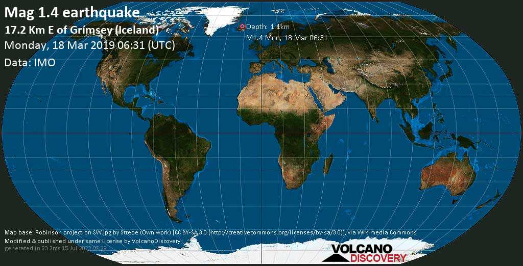 Minor mag. 1.4 earthquake  - 17.2 km E of Grímsey (Iceland) on Monday, 18 March 2019