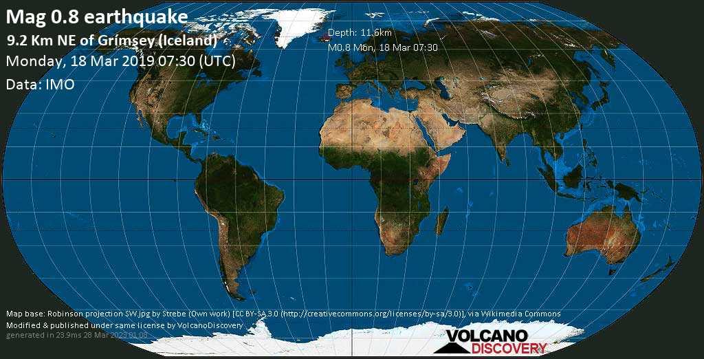 Minor mag. 0.8 earthquake  - 9.2 km NE of Grímsey (Iceland) on Monday, 18 March 2019