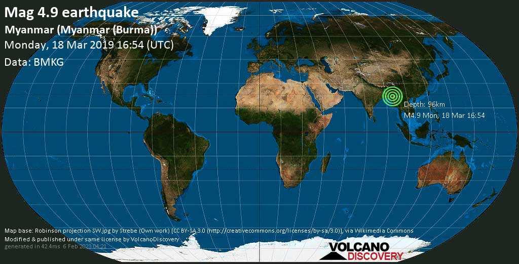 Light mag. 4.9 earthquake  - Myanmar (Myanmar (Burma)) on Monday, 18 March 2019