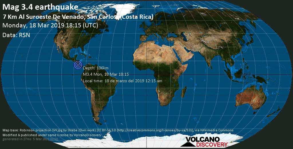 Minor mag. 3.4 earthquake  - 7 km al Suroeste de Venado, San Carlos. (Costa Rica) on Monday, 18 March 2019