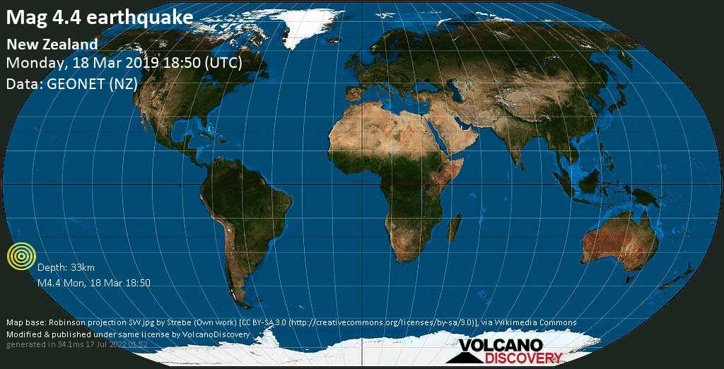 Light mag. 4.4 earthquake  - New Zealand on Monday, 18 March 2019