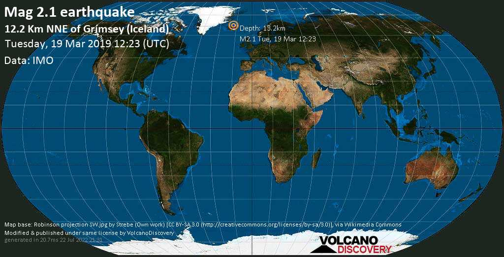 Minor mag. 2.1 earthquake  - 12.2 km NNE of Grímsey (Iceland) on Tuesday, 19 March 2019