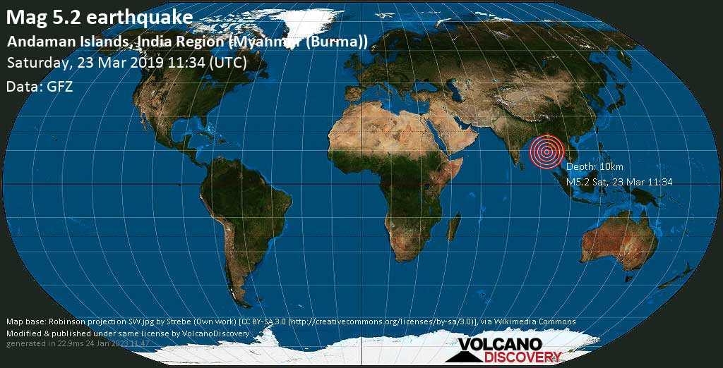 Moderate mag. 5.2 earthquake  - Andaman Islands, India Region (Myanmar (Burma)) on Saturday, 23 March 2019
