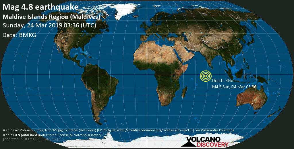 Light mag. 4.8 earthquake  - Maldive Islands Region (Maldives) on Sunday, 24 March 2019