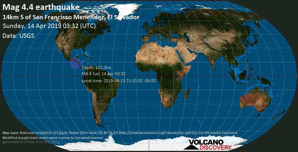 Light mag. 4.4 earthquake  - 14km S of San Francisco Menendez, El Salvador on Sunday, 14 April 2019