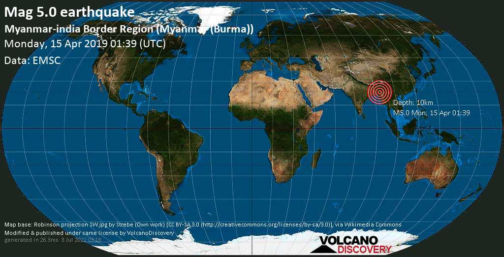 Moderate mag. 5.0 earthquake  - Myanmar-india Border Region (Myanmar (Burma)) on Monday, 15 April 2019