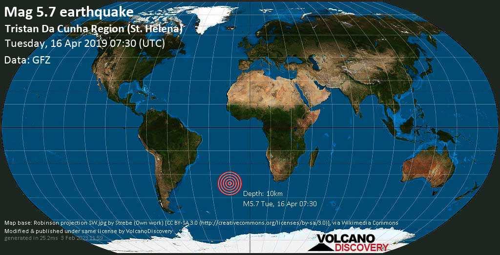 Moderate mag. 5.7 earthquake  - Tristan da Cunha Region (St. Helena) on Tuesday, 16 April 2019