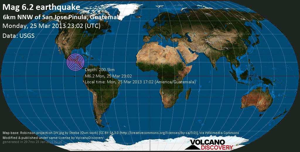 Strong mag. 6.2 earthquake  - 6km NNW of San Jose Pinula, Guatemala on Monday, 25 March 2013