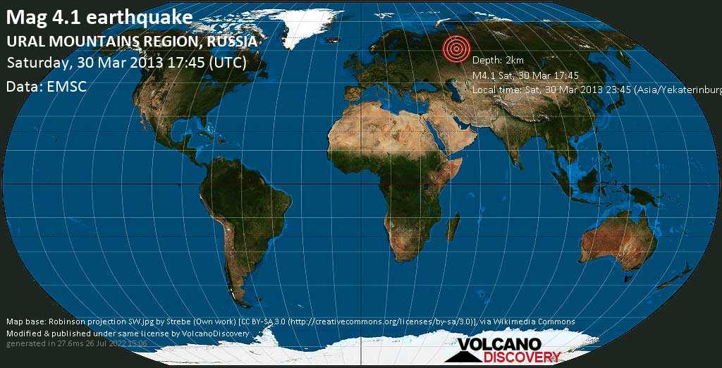 Light mag. 4.1 earthquake  - URAL MOUNTAINS REGION, RUSSIA on Saturday, 30 March 2013