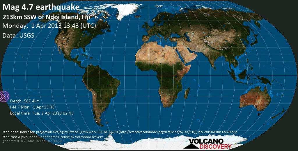 Light mag. 4.7 earthquake  - 213km SSW of Ndoi Island, Fiji on Monday, 1 April 2013