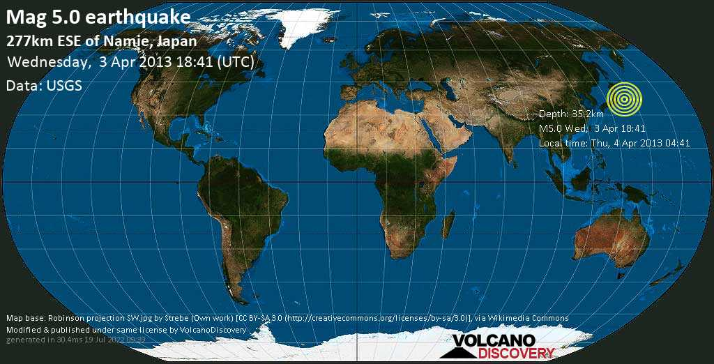 Moderate mag. 5.0 earthquake  - 277km ESE of Namie, Japan on Wednesday, 3 April 2013