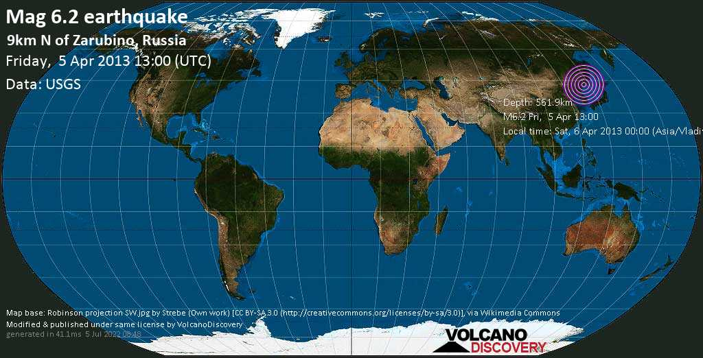 Strong mag. 6.2 earthquake  - 9km N of Zarubino, Russia on Friday, 5 April 2013