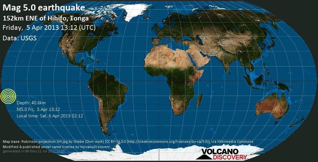 Moderate mag. 5.0 earthquake  - 152km ENE of Hihifo, Tonga on Friday, 5 April 2013