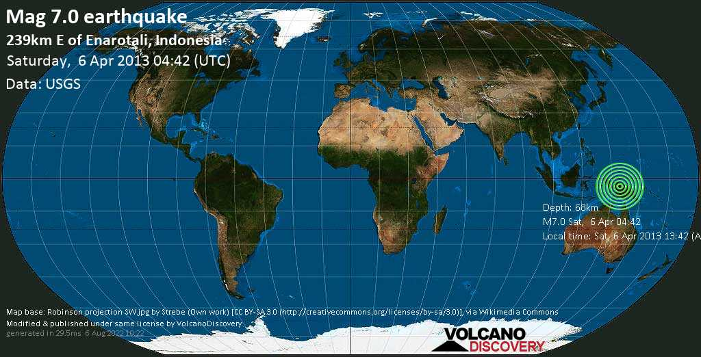 Major mag. 7.0 earthquake  - 239km E of Enarotali, Indonesia on Saturday, 6 April 2013