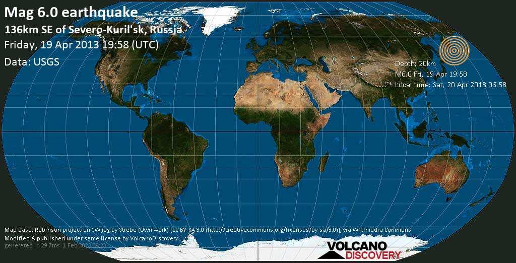 Strong mag. 6.0 earthquake  - 136km SE of Severo-Kuril\'sk, Russia on Friday, 19 April 2013