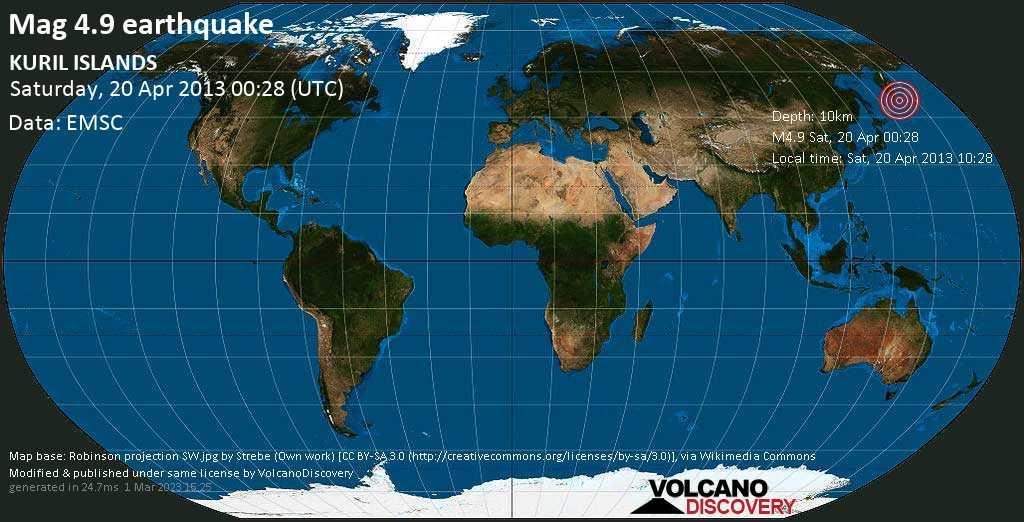 Light mag. 4.9 earthquake  - KURIL ISLANDS on Saturday, 20 April 2013