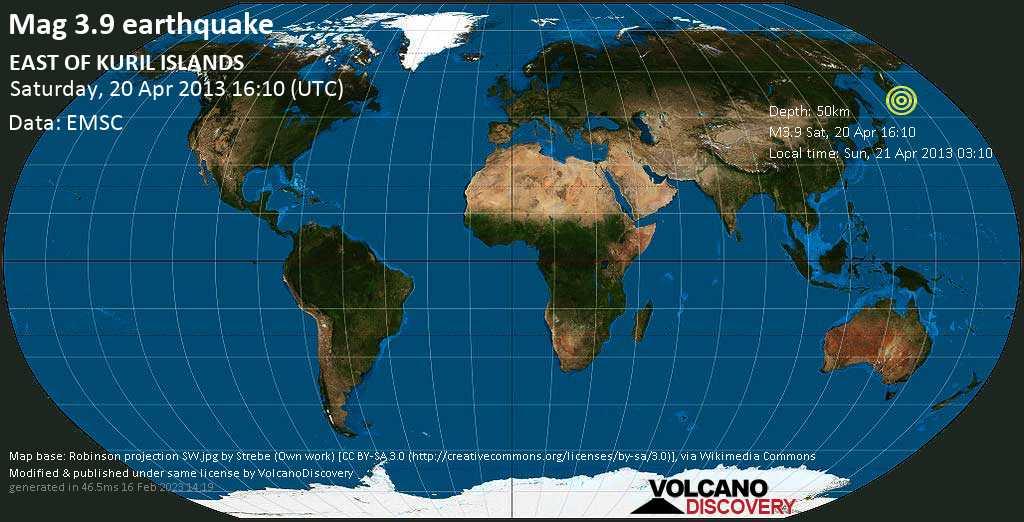 Minor mag. 3.9 earthquake  - EAST OF KURIL ISLANDS on Saturday, 20 April 2013