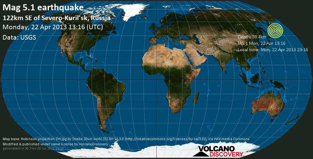 Moderate mag. 5.1 earthquake  - 122km SE of Severo-Kuril\'sk, Russia on Monday, 22 April 2013