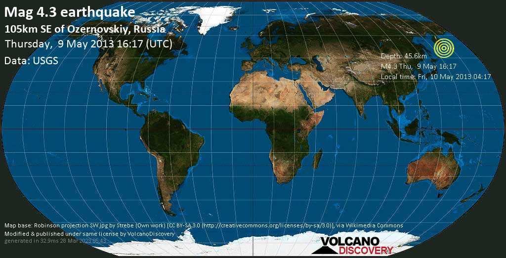 Light mag. 4.3 earthquake  - 105km SE of Ozernovskiy, Russia on Thursday, 9 May 2013