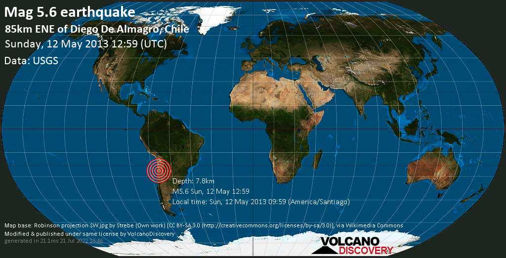 Moderate mag. 5.6 earthquake  - 85km ENE of Diego de Almagro, Chile on Sunday, 12 May 2013