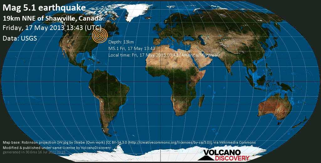 Light mag. 4.4 earthquake  - 19km NNE of Shawville, Canada on Friday, 17 May 2013