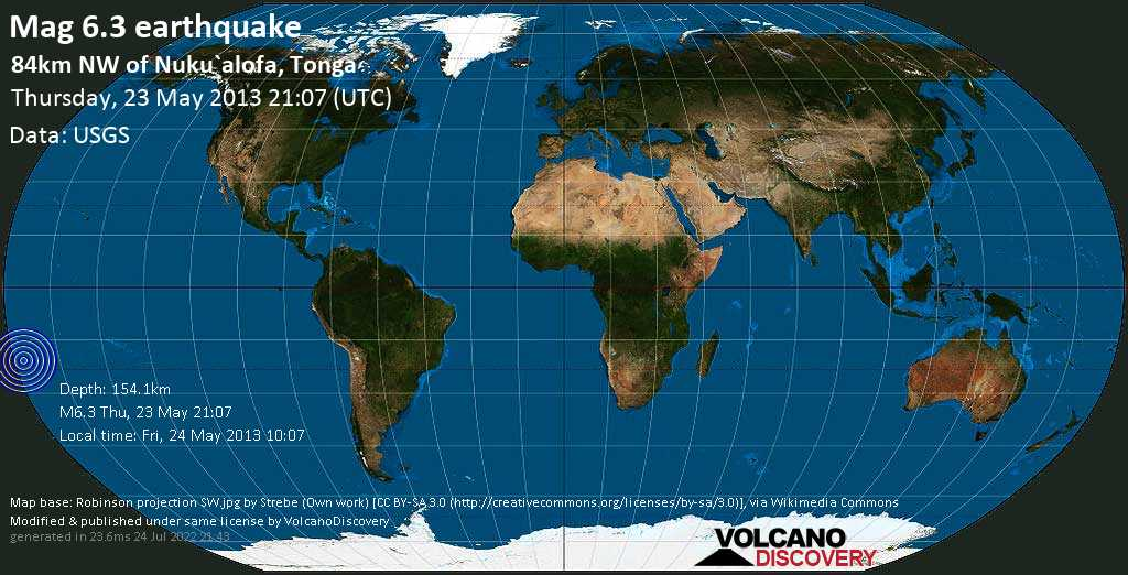 Strong mag. 6.3 earthquake  - 84km NW of Nuku`alofa, Tonga on Thursday, 23 May 2013