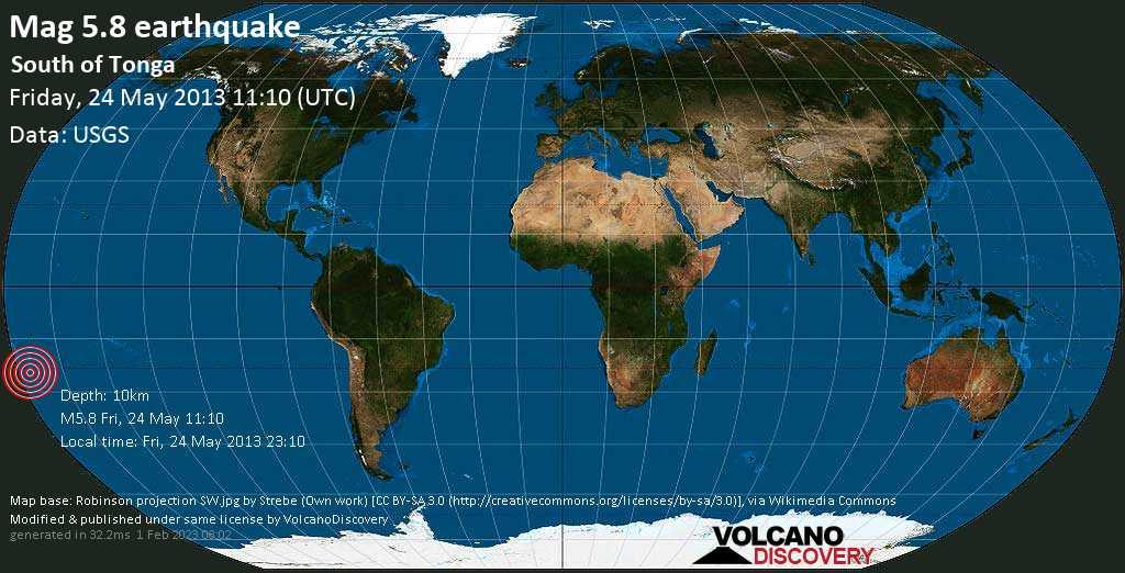 Moderate mag. 5.8 earthquake  - South of Tonga on Friday, 24 May 2013