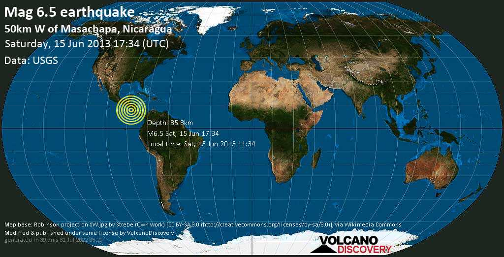 Strong mag. 6.5 earthquake  - 50km W of Masachapa, Nicaragua on Saturday, 15 June 2013