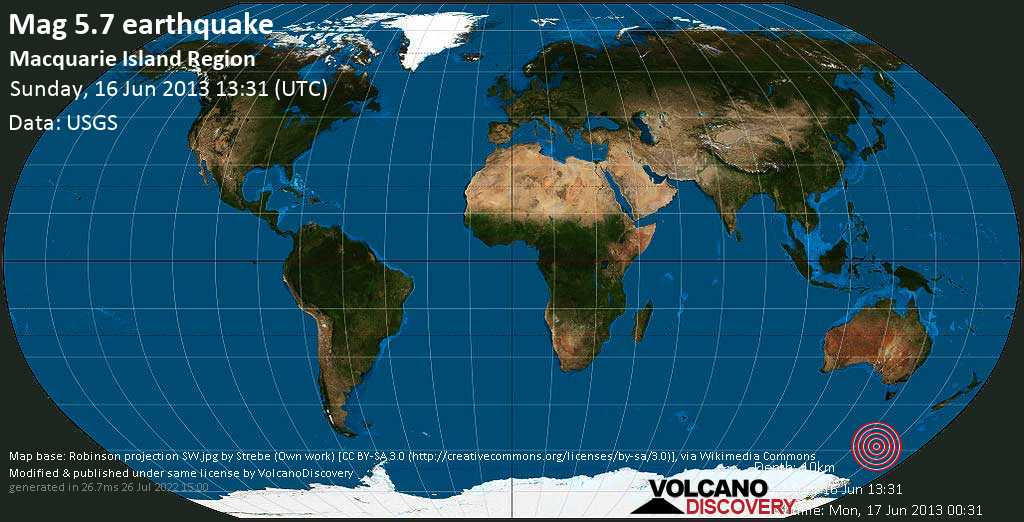 Moderate mag. 5.7 earthquake  - Macquarie Island region on Sunday, 16 June 2013