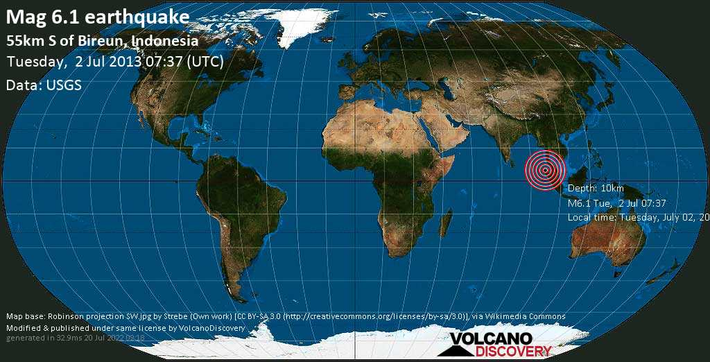 Strong mag. 6.1 earthquake  - 55km S of Bireun, Indonesia on Tuesday, 2 July 2013
