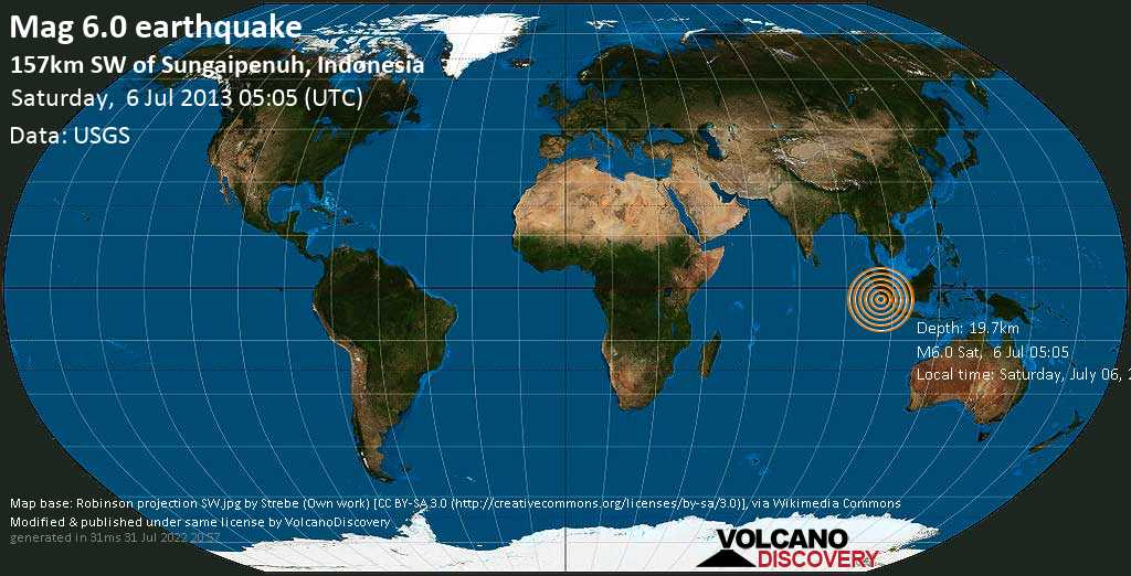 Strong mag. 6.0 earthquake  - 157km SW of Sungaipenuh, Indonesia on Saturday, 6 July 2013