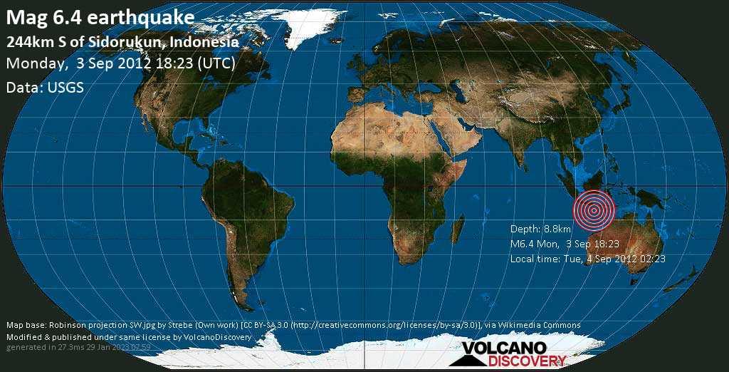 Strong mag. 6.4 earthquake  - 244km S of Sidorukun, Indonesia on Monday, 3 September 2012