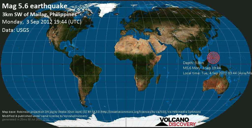 Moderate mag. 5.6 earthquake  - 3km SW of Mailag, Philippines on Monday, 3 September 2012