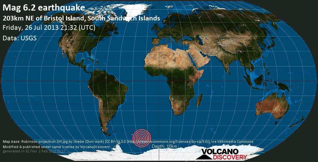 Strong mag. 6.2 earthquake  - 203km NE of Bristol Island, South Sandwich Islands on Friday, 26 July 2013