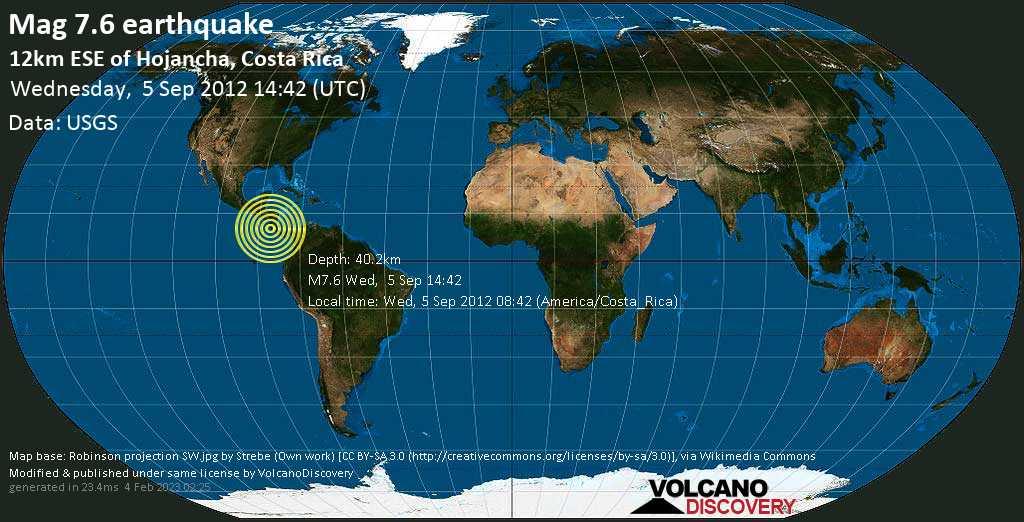 Major mag. 7.6 earthquake  - 12km ESE of Hojancha, Costa Rica on Wednesday, 5 September 2012